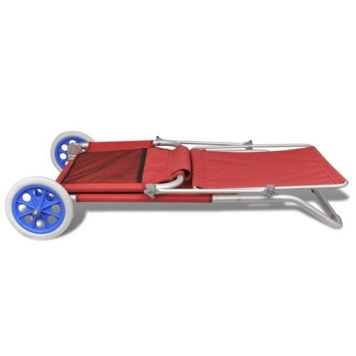 Складной шезлонг с навесом и колесами Алюминиевый красный