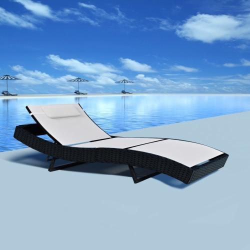 Bianco Poly Rattan regolabile Sun Bed