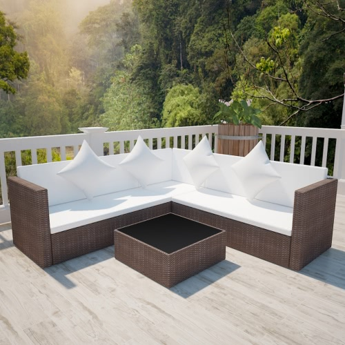 Brown Poly Rotin Lounge Set avec deux places Canapé