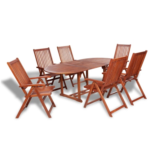 Bois Repas en plein air Set 6 chaises ajustables + 1 Table d'extension