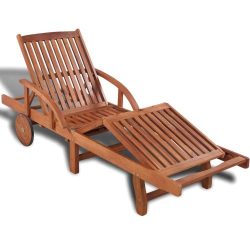 Bois 5 position réglable Chaise longue