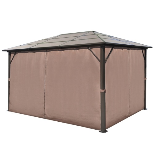 gazebo with curtain brown aluminum 13' x 10'