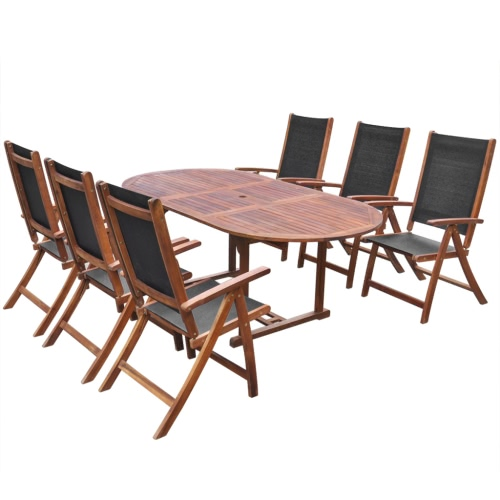 vidaXL Seven Piece Folding Outdoor Dining Set Bois d'Acacia