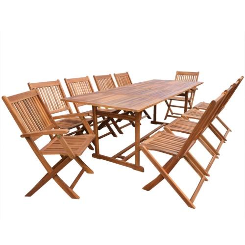 """Ensemble de salle à manger extérieur 11 pièces Acacia Wood 87 """""""