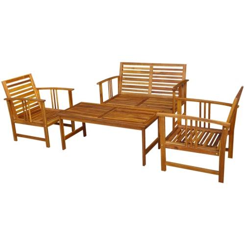 Four Piece Garden Furniture Set Acacia Wood
