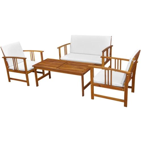 Dieci pezzi mobili da giardino Set di legno di acacia