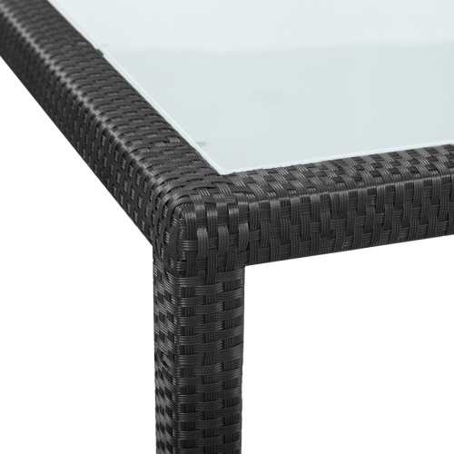 outdoor dining set rattan black polyester