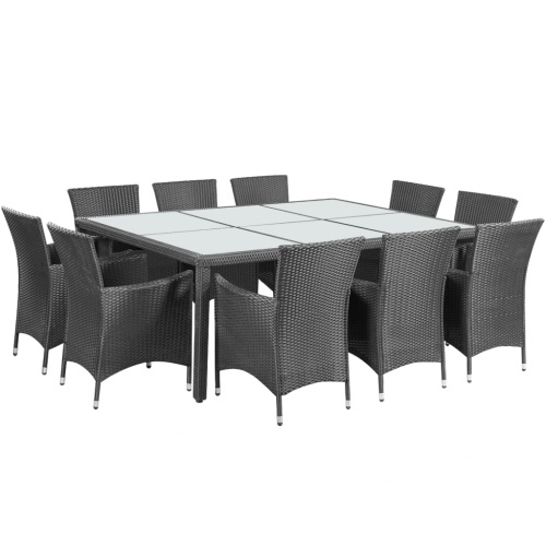 outdoor dining set 21 pieces poly rattan black