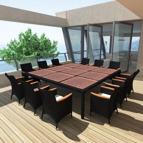 Salle à manger Outdoor Set Poly Rotin Noir 79