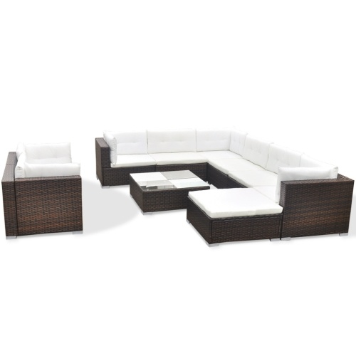 garden sofa set 32 ​​pieces of brown synthetic rattan