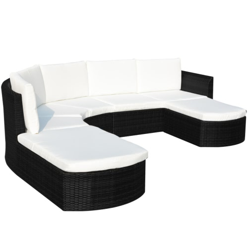 16 Piece Garden Sofa Set Poly Rotin noir