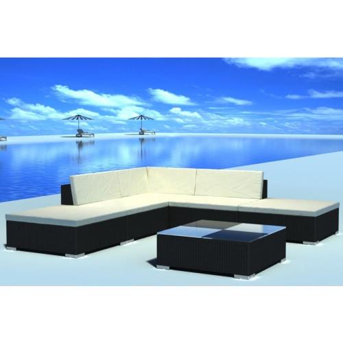 15 Piece Garden Lounge Set Black Poly Rotin