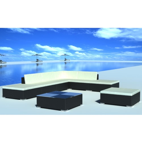 20 Piece Garden Lounge Set Black Poly Rotin