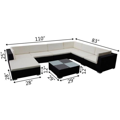 garden lounge set 24 pieces poly rattan black