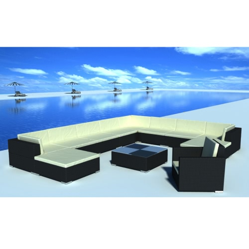 35 Piece Garden Lounge Set Black Poly Rotin