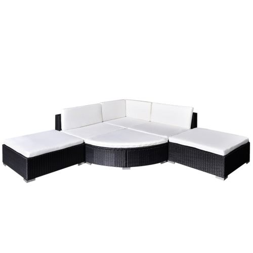 16 Piece Garden Lounge Set Black Poly Rotin