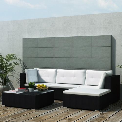 14 Piece Garden Sofa Set Black Poly Rotin