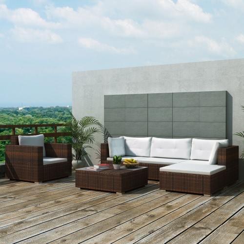 17 Piece Garden Sofa Set Brown Poly Rotin