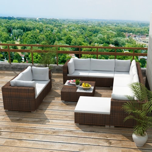32 Piece Garden Sofa Set Brown Poly Rotin