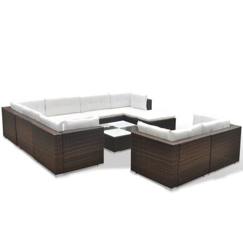 garden sofa set 32 pieces poly rattan brown