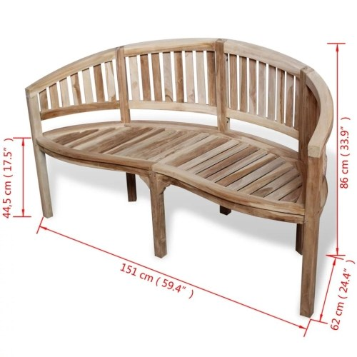 Teak Banana Bench with 3 Seats 59.4