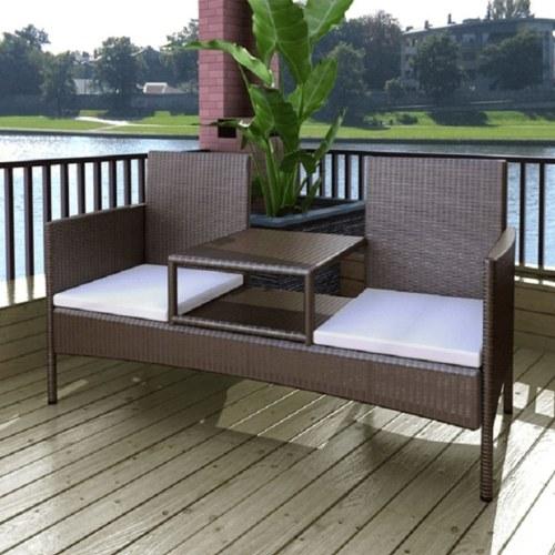 Двухместная скамья с чайным столом Poly Rattan Brown