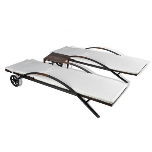 Set di sedie con tavolo 3 pezzi marrone ratan