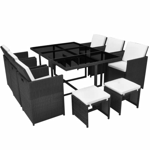 set of 27 pieces garden dining room black poly rattan