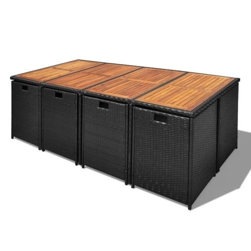 outdoor dining set 33 pieces black poly rattan acacia wood