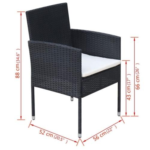 Набор для наружной столовой 13 штук Poly Rattan Black