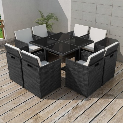 25 шт. Комплект для наружного обеденного стола Black Poly Rattan