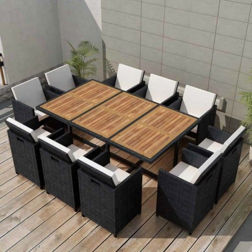 outdoor dining set 31 pieces black poly rattan acacia wood