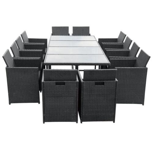 37 шт. для наружной столовой Комплект из черного ротанга