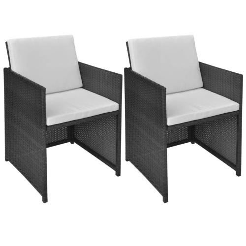 """cadeiras de jantar  2 pcs Preto Rattan poli de 20,5 """"x22"""" x33,5 """""""
