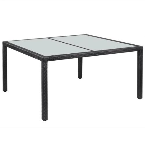 """Наружный обеденный стол Poly Rattan 59 """"x35.4"""" x29.5 """"Черный"""