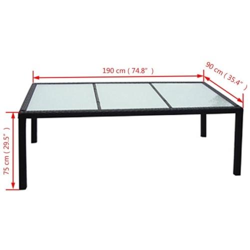 """Открытый обеденный стол Poly Rattan 74.8 """"x35.4"""" x29.5 """"Черный"""