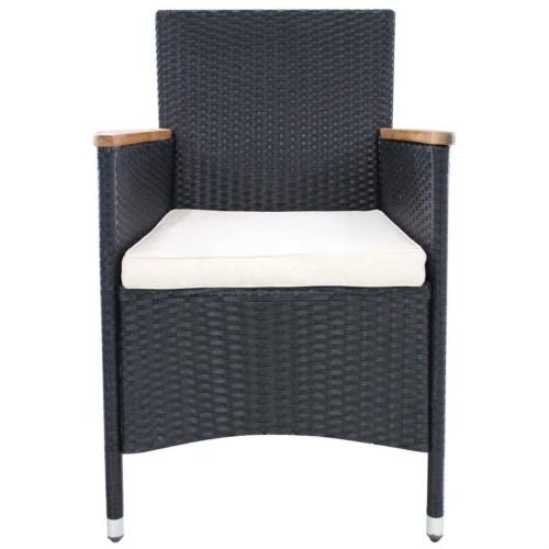 """Садовые стулья 2 шт. Черный ротанг 23.2 """"x23.6"""" x34.6 """" 42572US"""