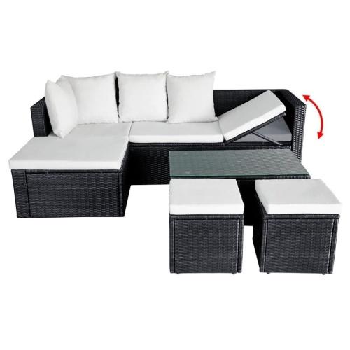 12 Piece Гардеробный диван-подставка Poly Rattan Black