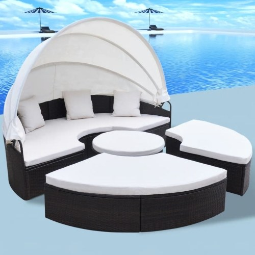 "Sun Lounger Poly Rattan Round 91 ""Браун"