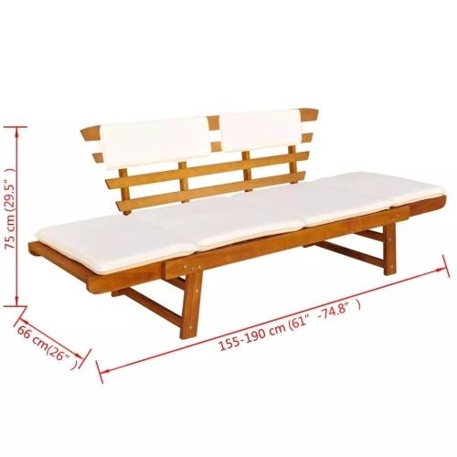 """Lettino da giardino / panca da giardino in legno massello di acacia 74,8 """"x26"""" x29,5 """""""