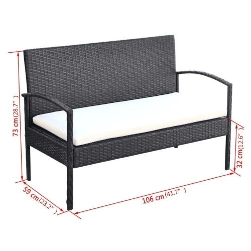 Комплект садовых диванов из семи частей Poly Rattan Black