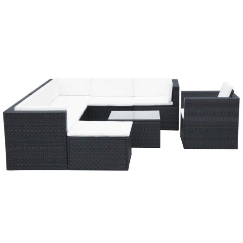 garden lounge set 27 pieces poly rattan black