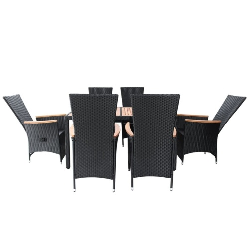 garden furniture 13 pieces black poly rattan acacia wood xxl
