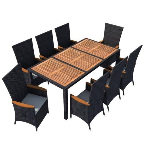 17 шт. Комплект для обеденного стола из натурального дерева из ротанга Acacia Wood XXL