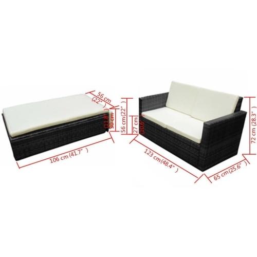 Набор из семи наборов садовой мебели Poly Rattan Black