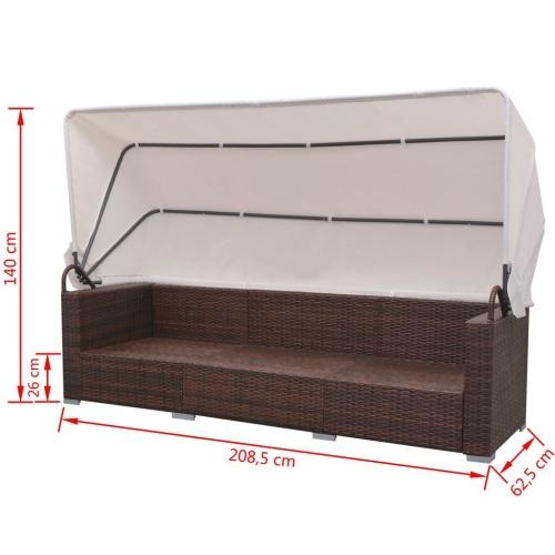 Садовая мебель с капюшоном 23 штуки коричневого ротанга