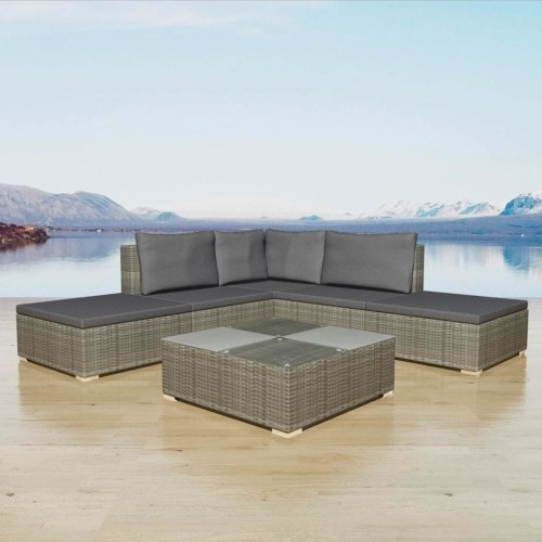15 штук садовый диван Set Poly Rattan Grey