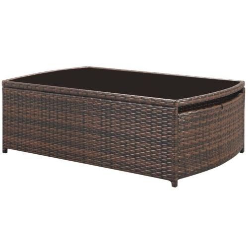 set of garden furniture 15 pieces of brown rattan