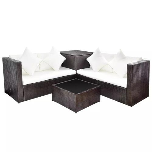 Lounge Set Poly Rattan Brown