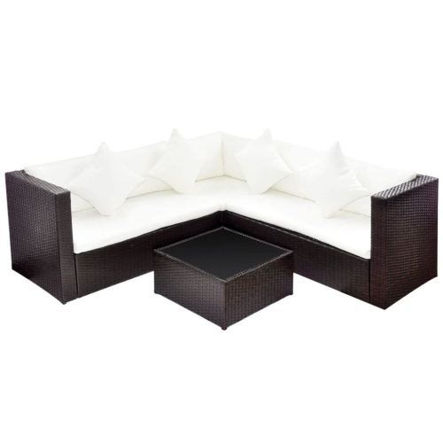 Lounge Set Poly Rattan Brown